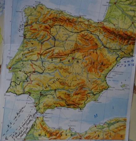 Vereinfacht und recht ungenau: meine Tour de Espana (einschl. Pausen und Abstechern) vom 7.10.12 bis zum 3.5.13