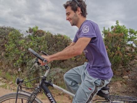 """Enrico am """"Steuer"""" meines Fahrrads"""